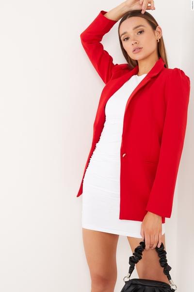 Red Puff Sleeve Blazer